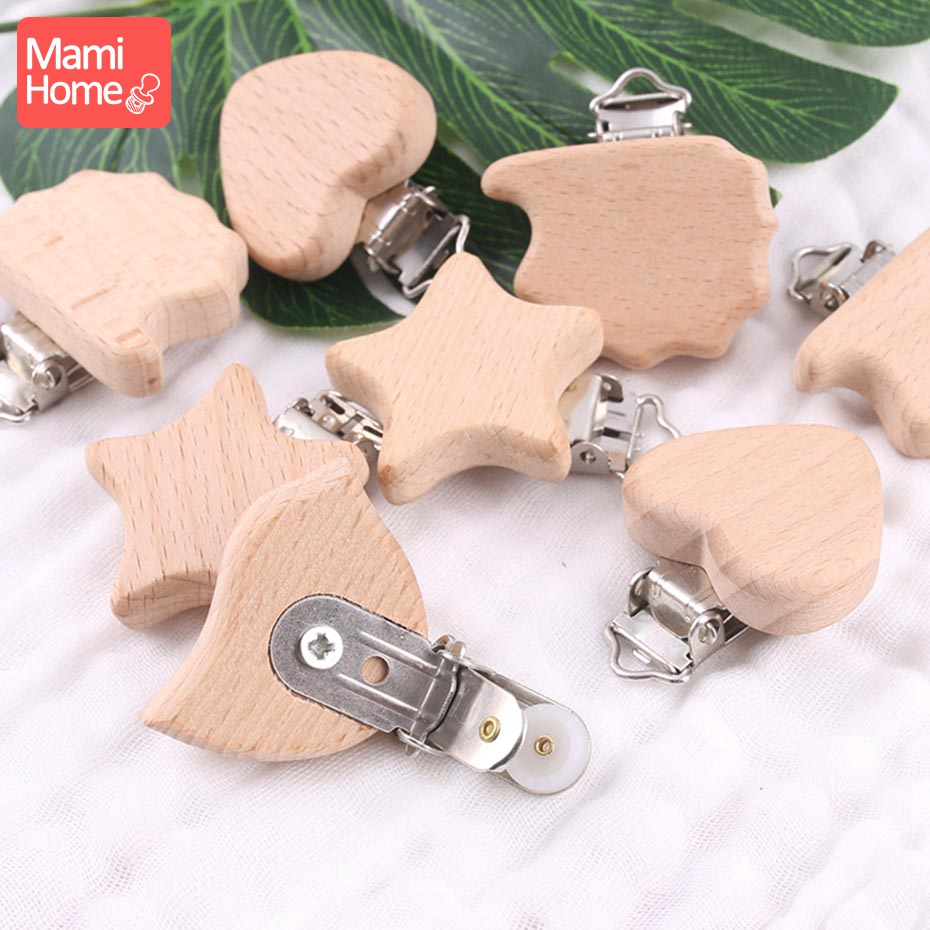 Mamihome 2pc Wood Pacifier Clip Animals Nipple Holder Baby Teether DIY Pacifier Chain Rodent Children'S Goods Soother Clasp Toys