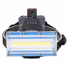 COB Led Strip Headlamp White Blue Red Light Headlight 3 Mode USB Emergency Headlamp Lighting by 3*18650 Led Lights 3 mode 5 led white red bike safety light black 3 x aaa