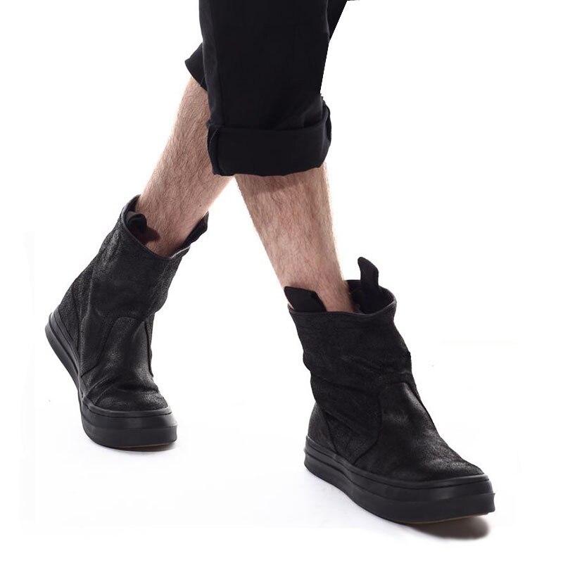 Célèbre marque décontracté noir haut haut large veau haut chaussures en daim de vache en cuir véritable bas chaussure plat Justin Bieber botte - 5