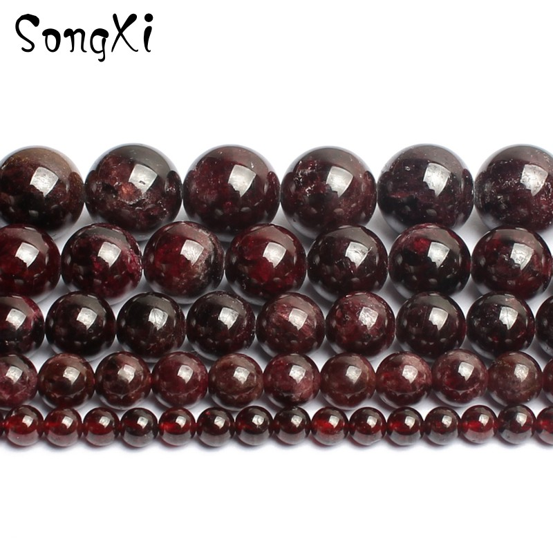Wholesale Natural Stone Dark Red Garnet Round Beads For Jewelry Making Diy Bracelet Necklace Pick Size 4/6/8/10/12mm 15 Inches Easy To Lubricate Jewelry & Accessories