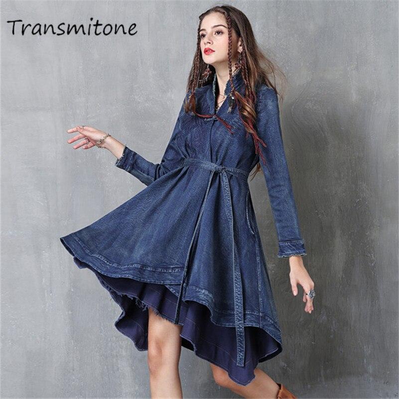 Spring Women Denim Dress 2019 Vintage Vestidos Asymmetrical V-Neck Belted Appliques Swing Hem Embroidery Long Sleeve Dresses