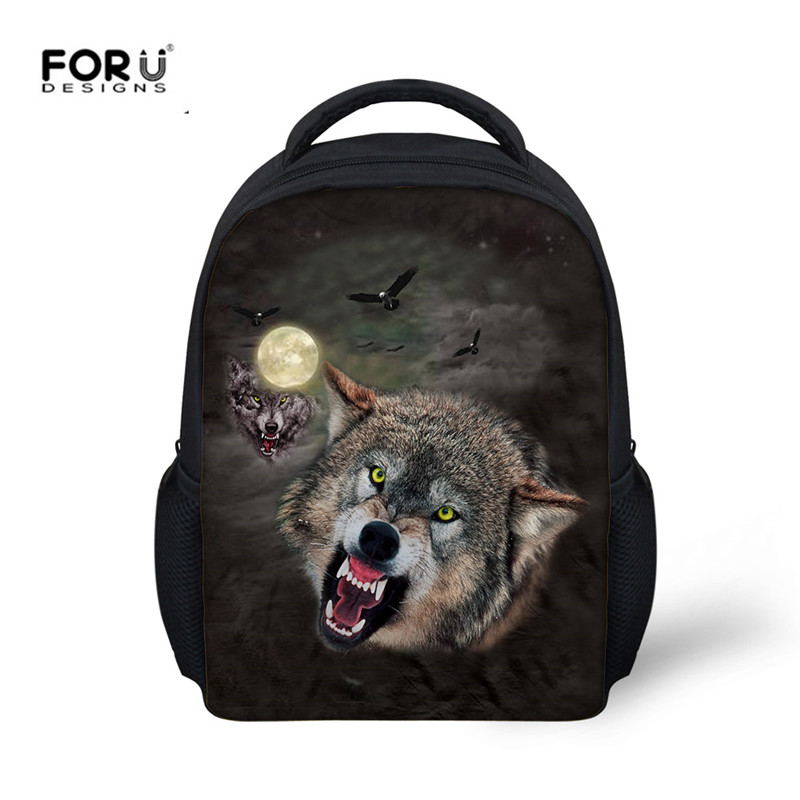 FORUDESIGNS Cool Animal Wolf 3D Print Backpacks Bagpack for Kids Girls Boys High Quality Mini Black Schoolbags Mochila Infatil