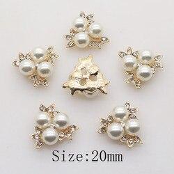 LkeRan 10pcs 20mm Metal Rhinestone Pearl button Flatback Alloy Button Wedding Dress Decoration Accessories Embellishments Crafts