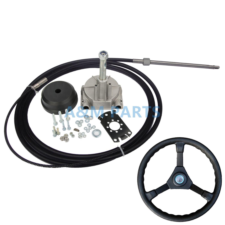 14FT Boat Steering System Single Turbine Rotating W/ Marine Steering Wheel Cable