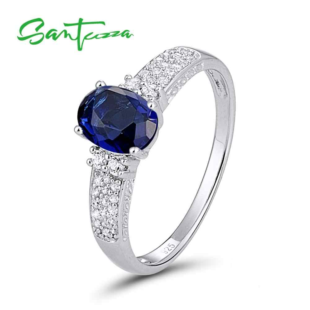 SANTUZZA Silver Rings for Women Engagement Wedding Ring Oval Blue White Cubic Zirconia Pure 925 Sterling Silver Fashion Jewelry