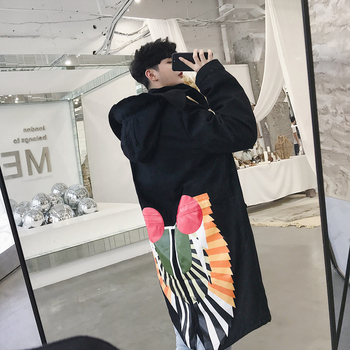 2018 Autumn New Men's Fashion Casual Loose Back Printing Solid Color Long Windbreaker Hooded Trench Overcoat Outwear Homme M-2XL