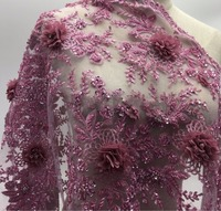 2yards New fashionable heavy beaded African French Lace Fabric with 3D flowers on Tulle embroidery bridal dress Lace Fabric