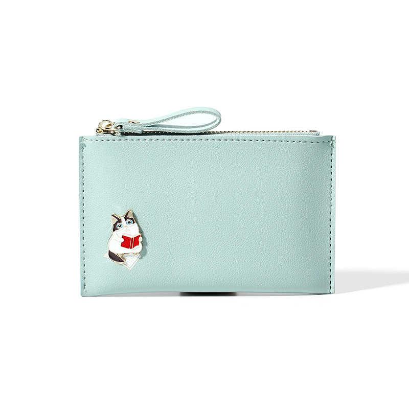 Neko Cat Kawaii женский кошелек для монет карамельный цвет подарок ID держатель для карт женский милый мини-кошелек из искусственной кожи значок с изображением кота маленькая сумка для денег
