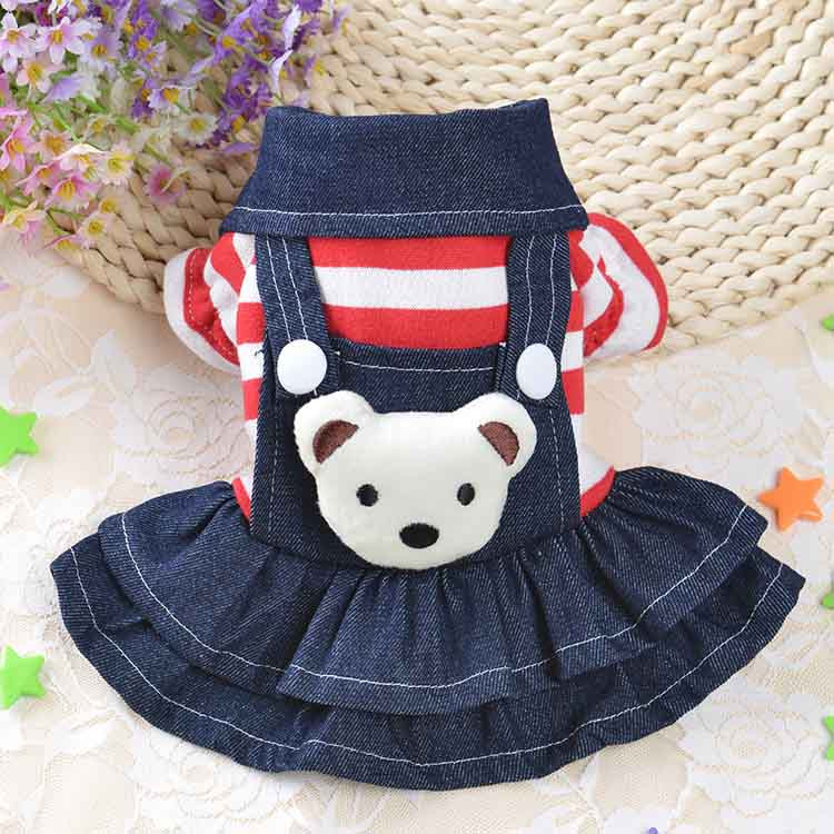 2016 Winter Warm New Dog Dress for Dog Clothes High Quality Jean Pet Clothes Fashion Striped Pets Dogs Princess Dresses Balck Red3
