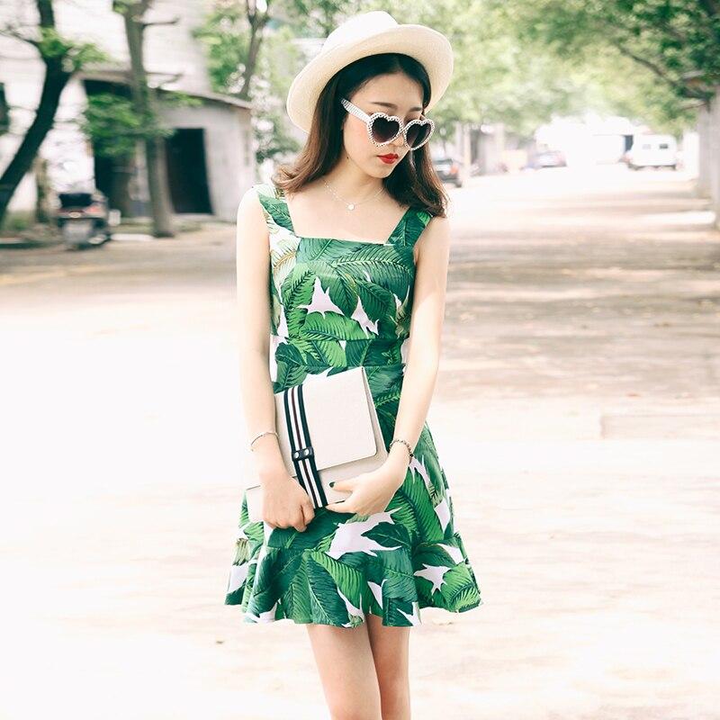 Womens summer Retro Vintage sleeveless High waist fishtail Mini sundress banana leaf printed Spaghetti Strap Short Dresses