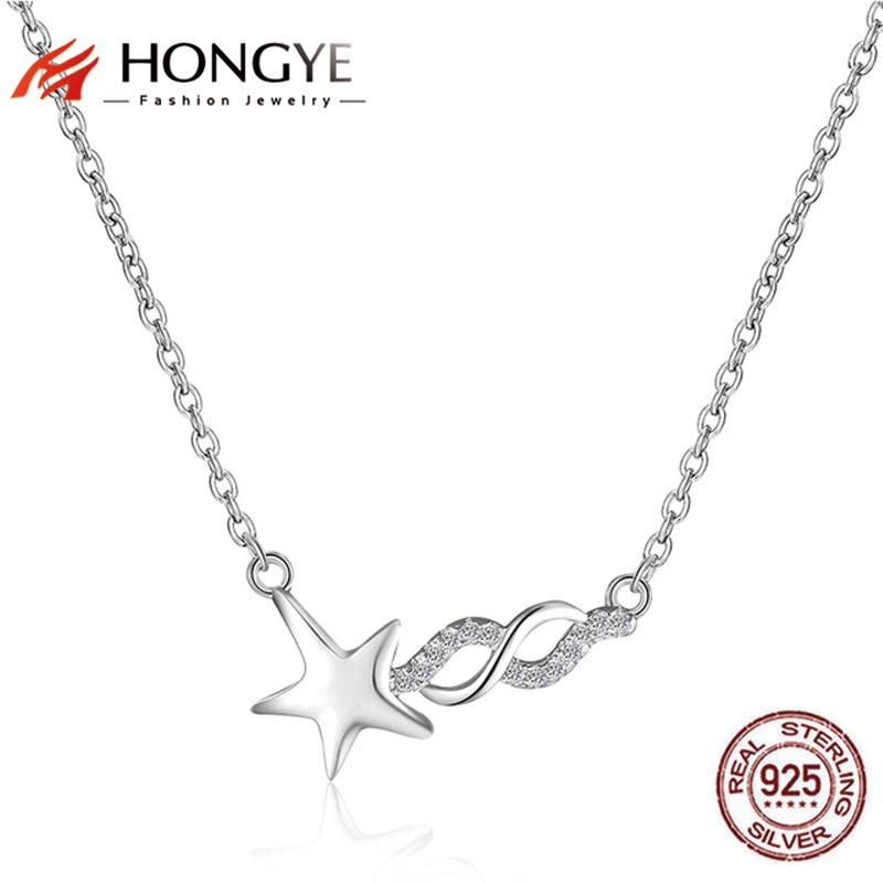 HONGYE Original 925 Sterling Silver Charms Necklaces Pave Austrian Rhinestone Star Infinity Choker Necklace Women Jewelry Gift