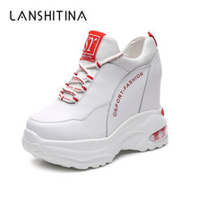 2019 Fashion Spring Women Platform Casual Shoes PU Leather Breathable Wedge Heels Shoes 9.5 CM Autumn Thick Sole Sneakers Woman