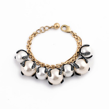 Canada Fashion Female Hot Sale Classic Bracelet Gold Color Elegant Big Resin Created Pearl Bracelet(China)