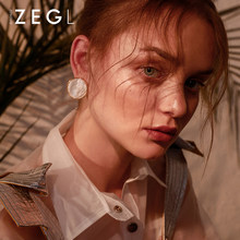ZEGL round big earrings women fashion temperament simple earrings round earrings wild personality earrings(China)