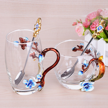Europe Creative Enamel Glass Cups Blue applique crystal cup tea the Tall and Short Mugs Wedding gift Home Drinking Ware