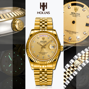 Image 2 - Holuns Men Watches 2019 Luxury Top Brand Gold Diamond Role Quartz Stainless Steel Calendar Relogio Masculino Wrist Watch Clock