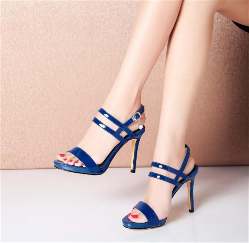 MLCRIYG 2018 new summer ladies sandals thin and high heel waterproof table leather womens shoes