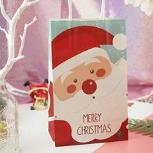 цена на 10Pcs/lot New Santa Claus Gift Wrap Bag Christmas Home Party Candy Cookies Paper Bags Christmas Gift Bag