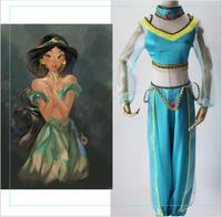 High Quality Women Sexy Goddess GENIE Jasmine Princess Costume Adult Kids Arabian Belly Dancer Cosplay Costume