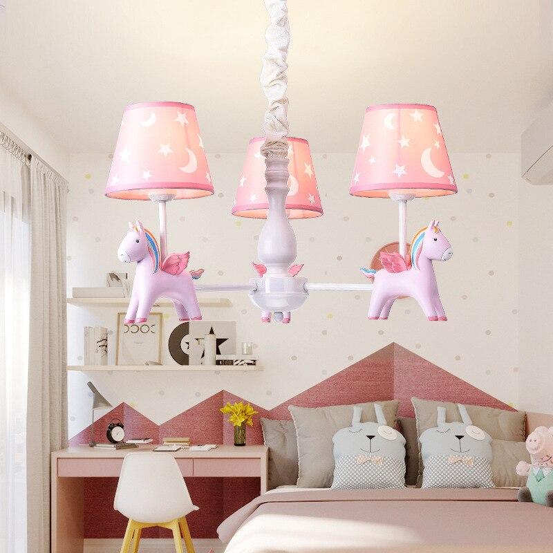 Marmenkina lampe de chambre d'enfant garçon fille princesse bébé chambre lustre dessin animé créatif Pegasus lustre luminaire E14
