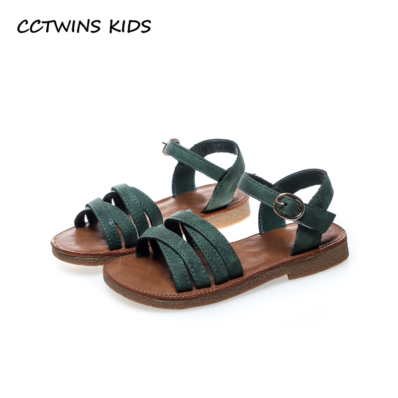 CCTWINS KIDS 2018 Summer Baby Girl Brand Beach Sandal Toddler Fashion Barefoot Shoe Chidren Genuine Leather Flat BB094