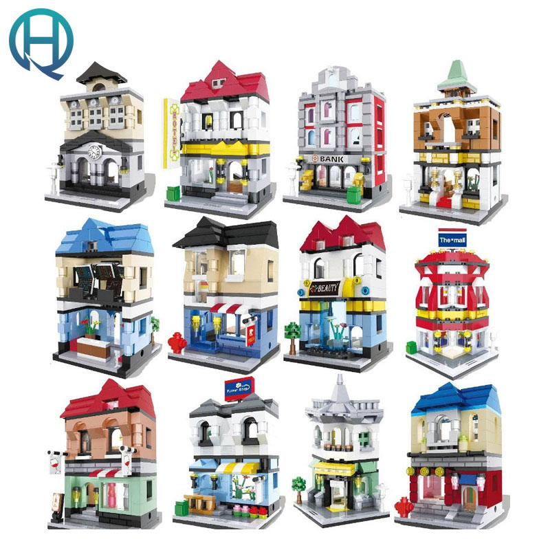 HSANHE City Series Mini Street DIY Model Building Blocks Bricks Sets Educational Birthday Gift Toys for Children Kids loz world famous classic architecture assembe mini building blocks educational model toys birthday gift for child eiffel tower