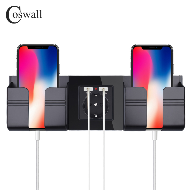 Coswall Black Grey Wall Socket Phone Holder Smartphone Accessories Stand Support For Mobile Phone One / Two Phone Holder