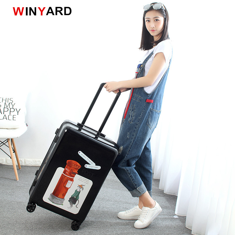 Wholesale!20 24inches europe fashion uk post mailbox rolling luggage for girl,vintage red abs+pc hardside suitcase for women 19inch leopard pattern hardside abs pc suitcase rolling luggage