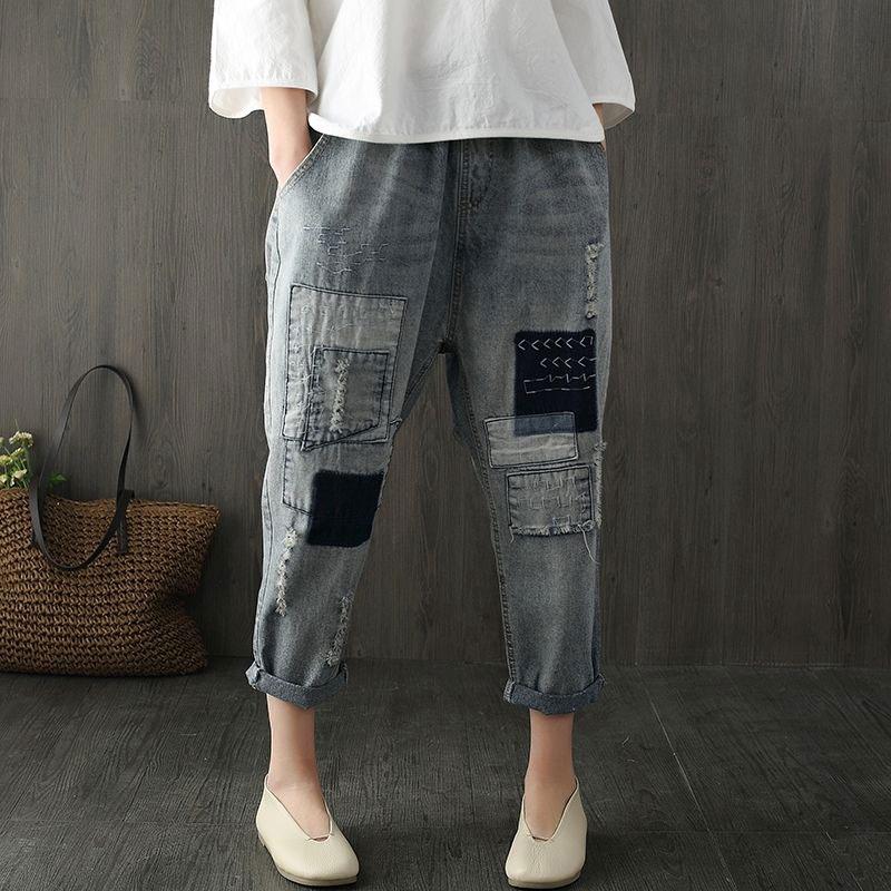 Spring New Fashion Women Jeans Loose Elastic Waist Denim Harem Pants Patchwork Letter Embroidery Vintage Patched Pants D111