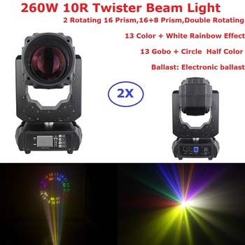 2XLot Twister Beam Lights 260W 10R Beam Spot Moving Head Stage Lights 2 Gobo Wheel 1 Color Wheel LED LCD Touch Screen Fast Ship shehds mini spot 30w led moving head lights parts wheel color