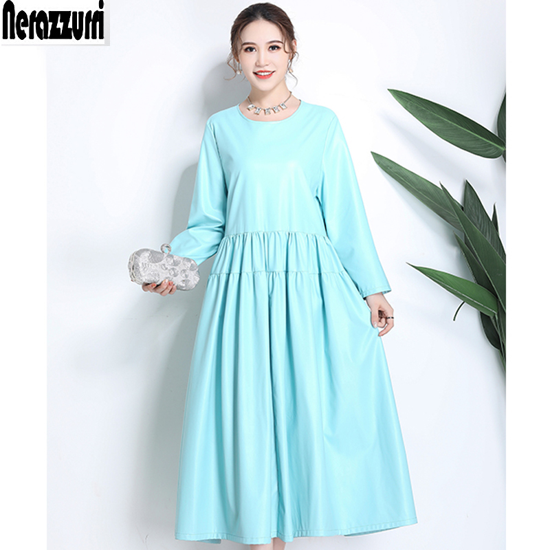 Nerazzurri plus size dresse for women 4xl 5xl 6xl new 2018 fashion pu leather dress women pleated long sleeve elegant long dress