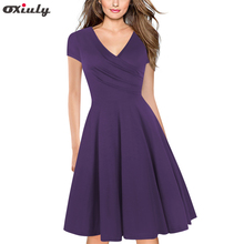 Oxiuly Summer Women Purple Bodycon Dress Ladies V Neck Short Sleeve Ruffles A Line Vestidos