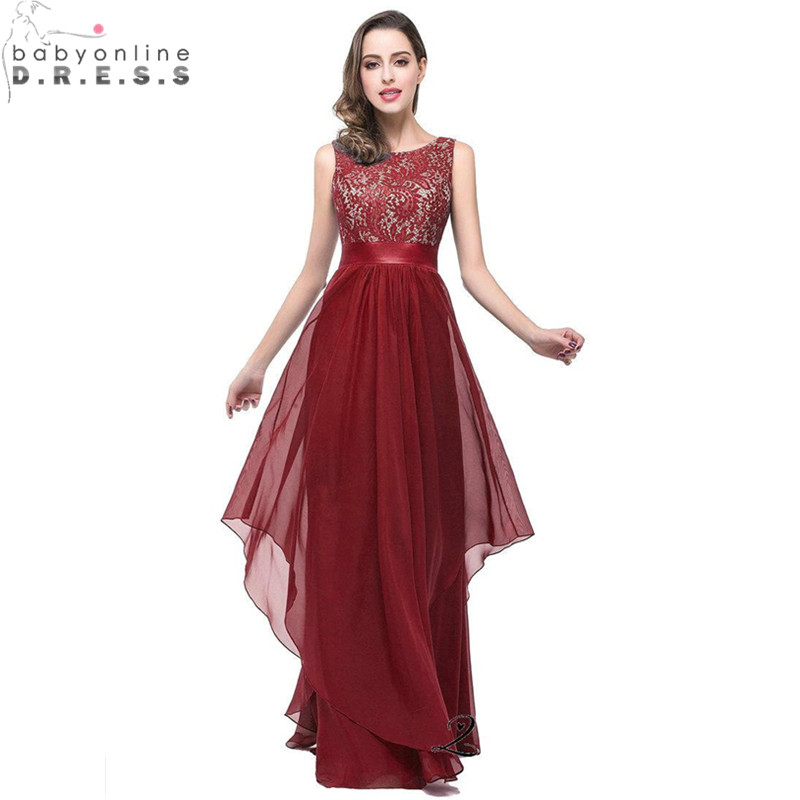 Stock Clearance Burgundy Lace Long Prom Dresses under 50 Chiffon Evening Party Dress with Sashes Vestido