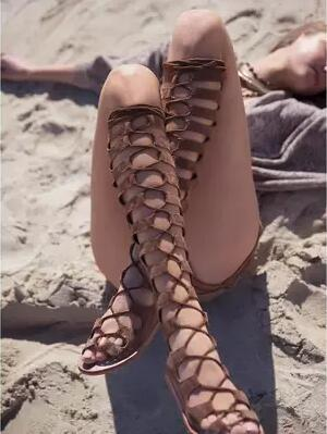 2017 Summer New Fashion Lace-Up Long Gladiator Sandals Cut-Outs Knee High Women Boots Pe ...