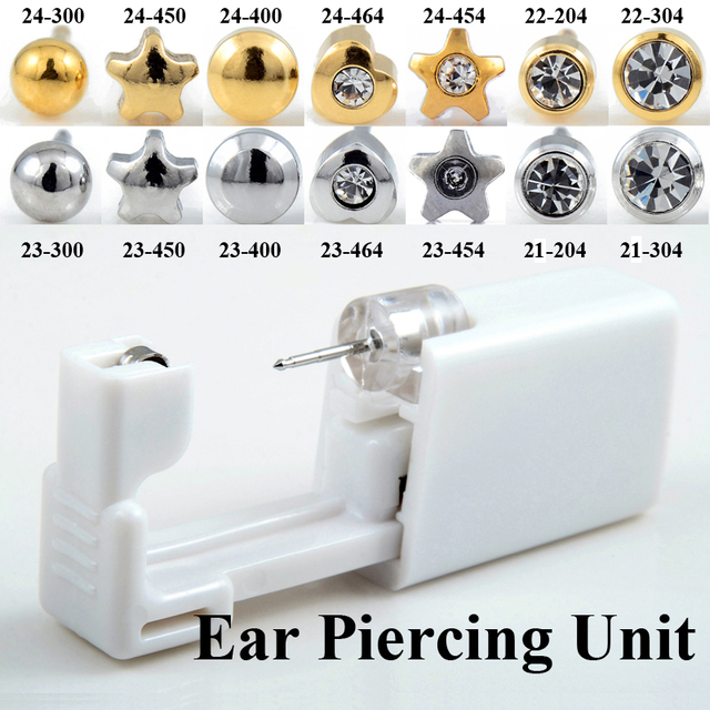 Disposable Sterile Ear Piercing Unit Cartilage Tragus Helix Piercing Gun Tool Kit Build In Steel Stud Earring Star Ball