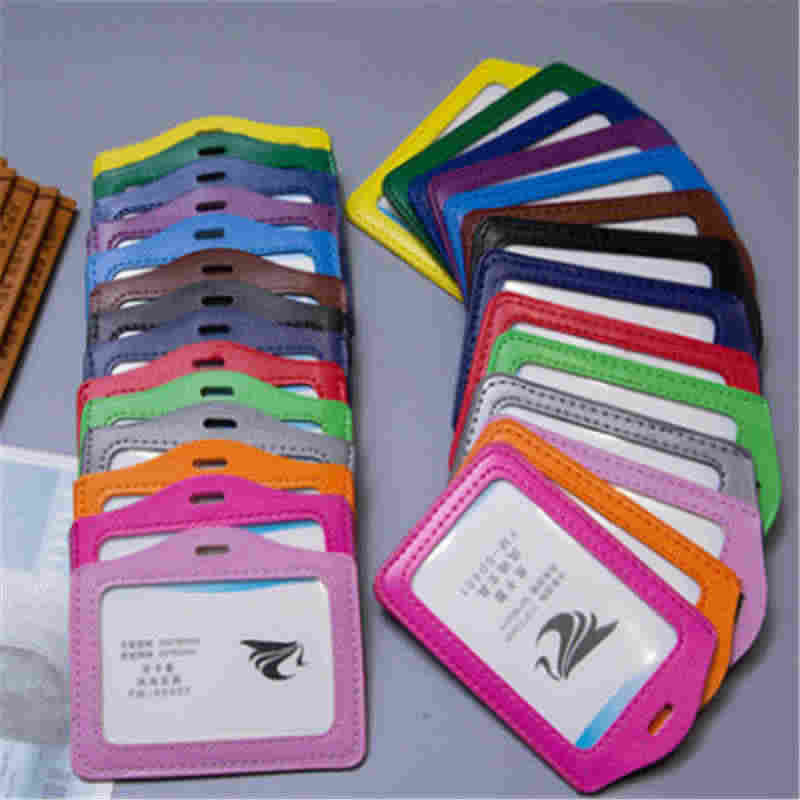 PU Leather Id Holders Case PU Business Badge Card Holder with Necklace Lanyard customize print company&office supplies