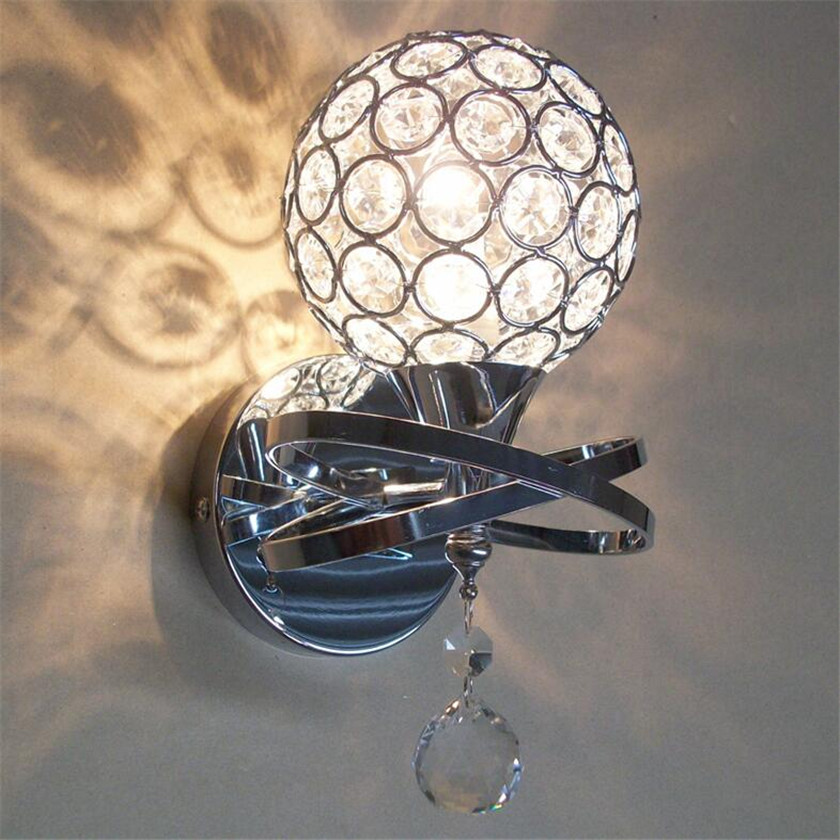 Led Crystal Wall Sconce Light Ball Luminarias Wall lamp For Bedside Lamparas Modern Home Indoor Staircase Entrance Lighting modern lamp trophy wall lamp wall lamp bed lighting bedside wall lamp