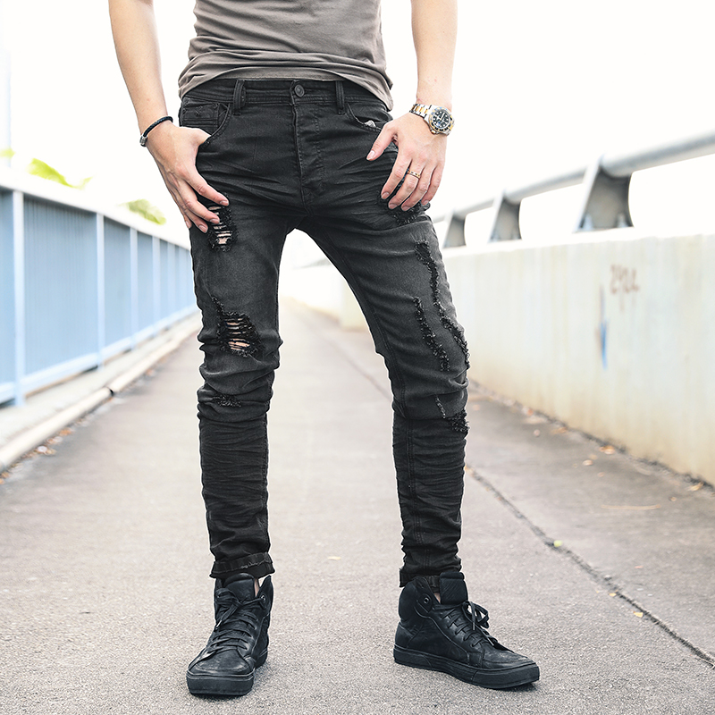 Fashion Streetwear Men Jeans Black Color Spliced Designer High Quality Hip Hop Denim Cargo Pants Big Size 29-42 Biker Jeans Men