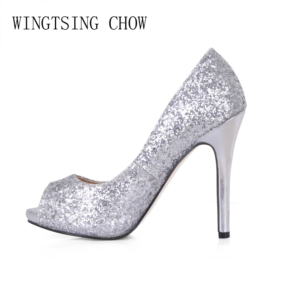 2016 New Silver Glitter Sexy Wedding Party Shoes Women Peep Toe Stiletto High Heels Dating Bridal Ladies Pumps Zapatos Mujer T3  shoes women high heels sexy wedges platforms glitter diamond shoes wedding shoes rhinestone heels party shoes pumps