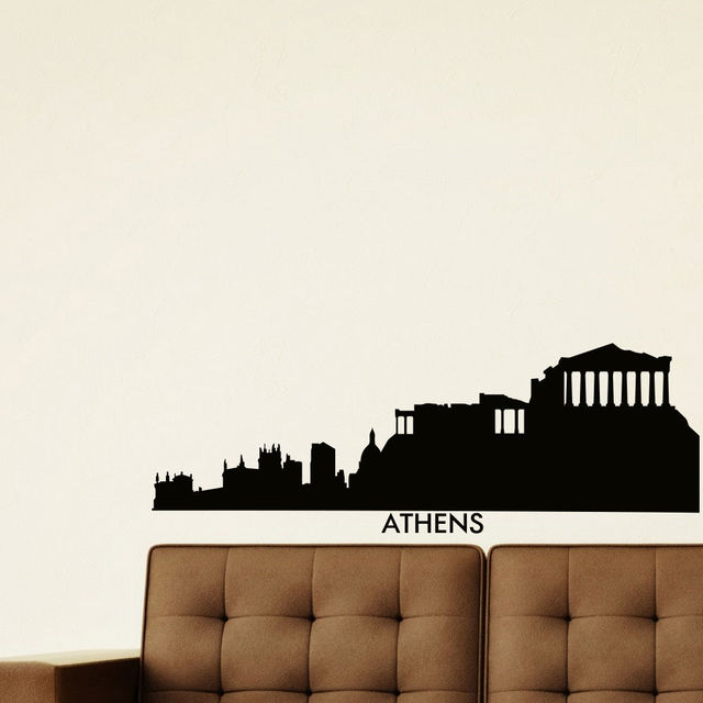 skyline wall sticker athens skyline city silhouette mural wall