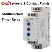 C Lin High Quality HHS18 1pcs AC 220V 2 Contact Points Multifunction Din Rail Timer Relay