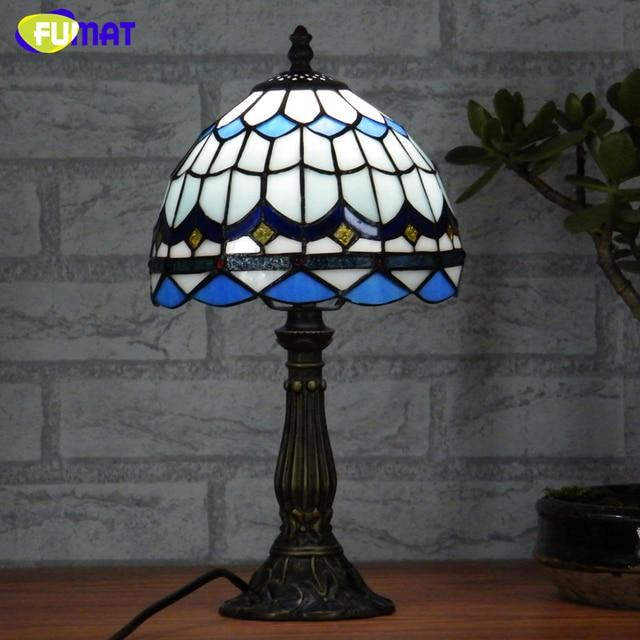FUMAT Gebrandschilderd Glas Tafellamp Mediterrane Stijl Glas Art Lampen  Voor Nachtkastje Woonkamer Led Blauw Lampenkap Tafel
