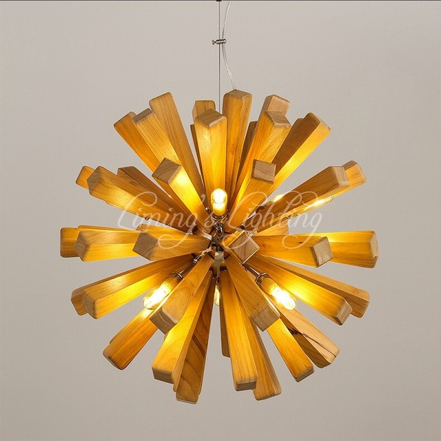Nordic Minimalist Retro Pendant Light Oak Wood Vintage Lamp Lighting Restaurant Dining Room Coffee Hall Pendente de teto Laparas