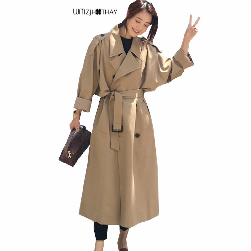 Windbreaker Coat 2019 Autumn New Women Long Solid Color Double Breasted Outerwear Fashion Casual Wild Loose Female   Trench   Coats