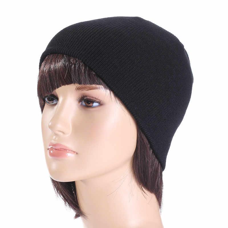 3abc2eefe681a6 ... Winter Hat Unisex Cotton Blends Solid Warm Soft HIP HOP Knitted Hats  Men Winter Caps Women's ...