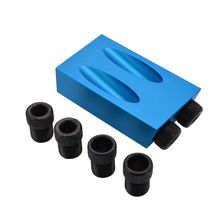 8pcs Pocket Hole Jig Kit 15Degree Angle 6/8/10mm Adapter Oblique Drill Guide Puncher Locator Set Woodworking Tools