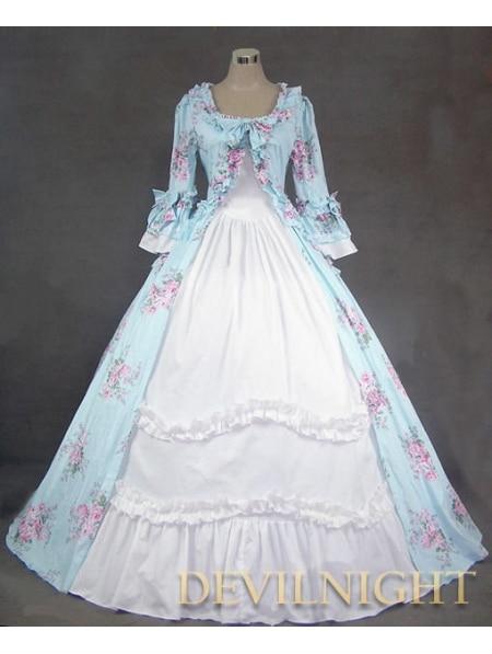 Azul Image Floral Clásico Color Vestido Patrón Victoriano Blanco Y Gótico R8q7pwnx5t