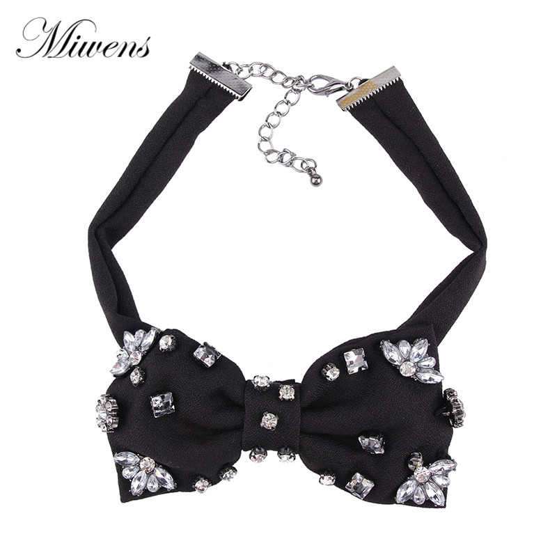 Miwens New Style Crystal Bowknot Necklace Trendy Jewelry Elegant Gorgeous Statement Party Choker Cloth Accessory For Women 5980