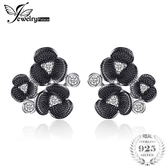 JewelryPalace Vintage Cubic Zirconia Flower Stud Earrings 925 Sterling Silver Sp