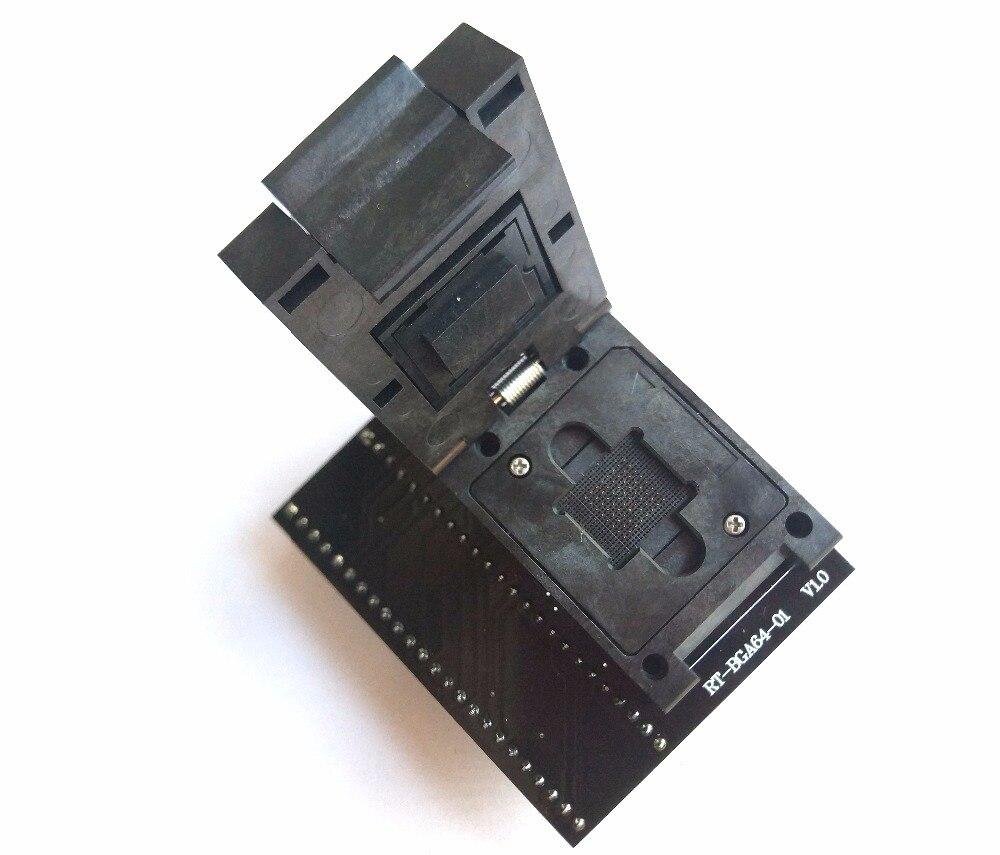 RT-BGA64-01 V2.0 MEM NW267 BGA64 socket Adapter pas 1.0 MM 11X13 limiteur de encadreur Pour RT809H Programmeur